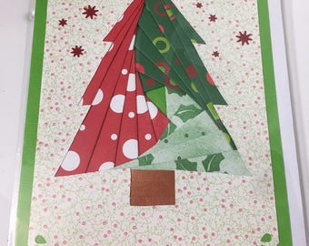 Iris Paper Folding Greeting Card, Christmas Tree with Red Snowflakes