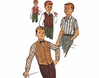 Boys Reversible Vest Pattern Boys Button Down Shirt Pattern Vintage 1950s Sewing Pattern Simplicity 4161 Boys Size 8