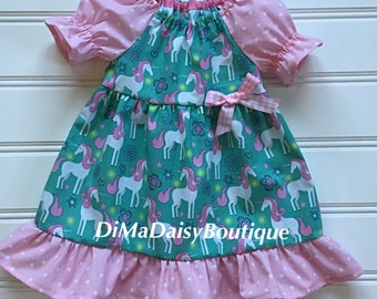 Turquoise Unicorn Dress for Baby, Baby Dress, Little Girl Dress, Girl Summer Dress, Toddler Dress, Ruffle Dress, Pink Dress