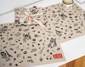 SET of 2 placemats or canvas in ZEF style - screen printed by hand - pure cotton