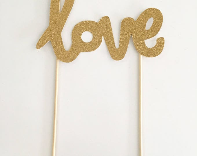 Love Script Cake Topper, Love Balloon Topper, Gold LOVE cake topper | Engagement cake topper | Party Picks | Wedding Cake Topper
