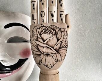 True Love -  Mannequin Hand - Tattoo Art - Wood Burning - Rose Tattoo -  Modern Art - Art on Wood -  Pyrography - Timberlee.EU