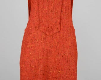 Orange 1960s Vintage Mod Dress