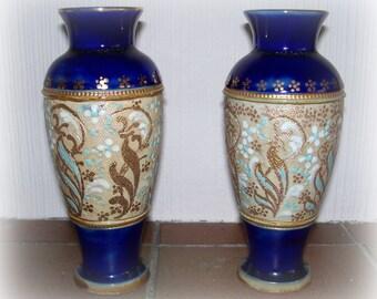 Elegant Pair of Antique Royal Doulton Vases