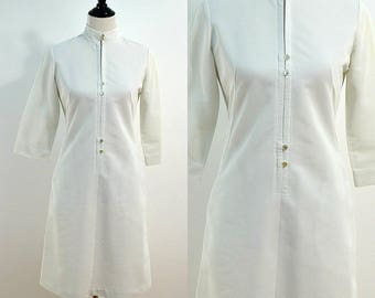 White Nurse's Uniform / 1960s Vintage Mod Dress / Medium M / 60s Nurse Cosplay / Nurse Costume / Halloween / Wiggle Dress / Body Con Dress