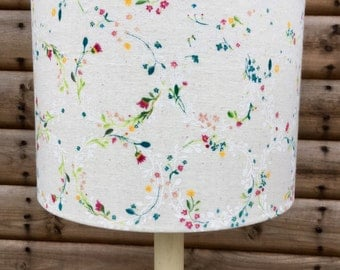 Little Flowers On Cream Muslin Fabric Covered Lampshade.