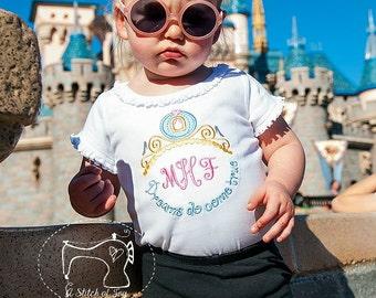 Girls Princess Shirt, Dreams Do Come True, Cinderella Princess Carriage, Embroidered Applique Shirt or Bodysuit