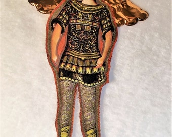 Saint Michael Angel Art Doll Religious Guardian Angel Protector Home deco Door Hanger Collectibles Fabric doll  Christmas gift Noël