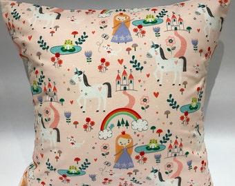 Princess cushion, unicorn cushion, fairytale pillow, girls cushion, childrens cushion, girls pillow, nursery cushion