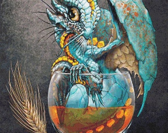 Whiskey Dragon  - emailed PDF cross-stitch chart / pattern, original art © Stanley Morrison  licenced by Paine Free Crafts