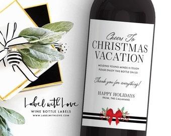 Teacher Christmas Gift - Custom Wine Label - Wine Label for Teacher - Funny Wine Labels - Holiday Daycare Provider Gift Idea