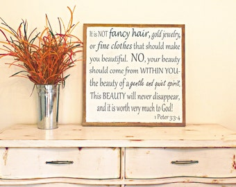 """1 Peter 3 Wooden Sign Girls Room Scripture Wall Art Large Wood Sign 25""""x25""""Christmas Gift"""