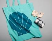 Sea Shell Tote Bag, Screen Printed Shopping bag, Mermaid style, Bag for life
