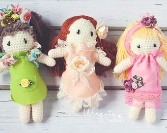 Beautiful handmade crochet dolls for photography. Around 23cm tall.Green dress,Peach dress,Pink dress.Ready to send