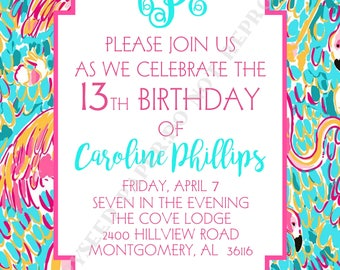 Lilly Pulitzer Birthday Invitation- Personalized -Digital File or Printed Invitation- Double Sided