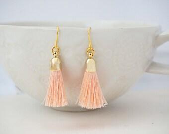 Peach and Gold Tassel Earrings