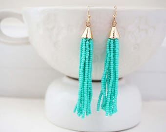 Beaded Turquoise and Gold Tassel Earrings