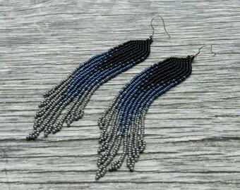 Grey fringe earrings, beaded earrings, extra long tassel earrings, boho style, Native American jewelry, seed bead earrings