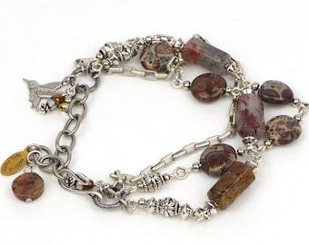 Brown Gemstone Bracelet Jewelry, Jasper Gemstone Jewelry, Boho Gemstone Bracelet, Jasper Gemstone Bracelet, Boho Jewelry Gift For Her