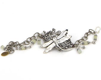 Silver Dragonfly Bracelet, Unique Boho Jewelry Gift, Art Nouveau Bracelet, Unique Boho Bracelet, Jewelry Gift for Wife, Girlfriend, Mom, Me