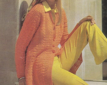 PDF womens crochet coat jacket vintage crochet pattern pdf INSTANT download pattern only pdf 1970s tunic 32 34 36 38 inches