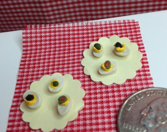NEW-MINIATURE FOODS-#M15- Set-2 (8 pcs)-Devilled eggs (6) on plates (2)-very tiny- 1.12th scale-diy-fairy gardens-dollhouse foods