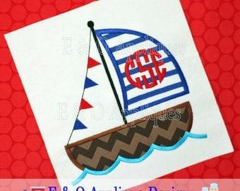 Sailboat Applique Design - Boat Applique Design - Boat Embroidery Design - Nautical Embroidery Design - Sailing Embroidery - Digital Design