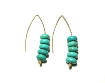 Turquoise Earrings Sterling Silver Handmade Minimal Greek Jewelry Organic Beads Eco friendly Natural Howlite Magnesite Gift For Her