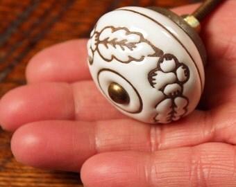White Brown Knob - White Ceramic Knob - Flower Dresser Knob - Ceramic Dresser Knob - Ceramic Cabinet Knob - Ceramic Drawer Pulls