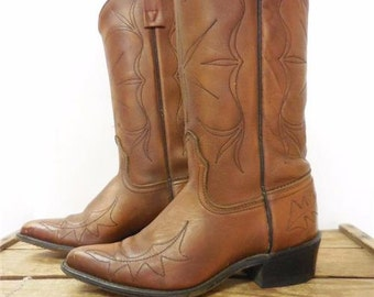 Acme Vintage Pecan Brown Ornate Star Leaf Stitch Cowboy Western Boots Women 5.5 C