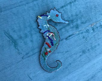 Large Turquoise Enamel Copper Seahorse Pin Brooch 12g