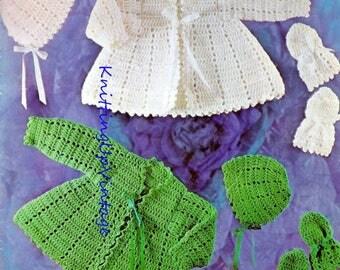 Baby Crochet Pattern Matinee Coat Bonnet Mittens Double Knit  pdf