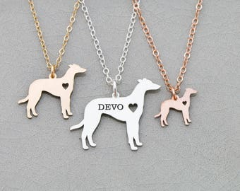 Greyhound Necklace • Greyhound Dog Gift • Personalized Pet Name Engraved Pet Gift Custom Dog Breed Sterling Dog Cutout Pet Charm