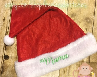 Personalized Santa Hat ONE SIZE Adults Kids Christmas Holiday Santa Claus