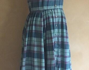 Vintage 90's 100% Cotton Plaid Dress