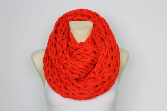 Knit Red Scarf Circle Scarf Big Winter Red Snood Oversized Scarf Red Chunky Cowl Snood Super Chunky Scarf Oversized Scarf Wrap Scarf Winter