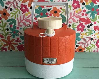 Vintage One Gallon Thermos Picnic Jug, Orange and White Thermos Drink Container from the 1970's, Vintage Camping Gear, Thermos Drink Cooler
