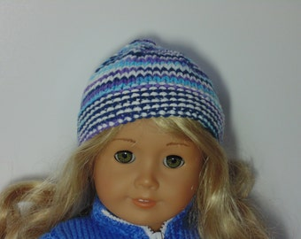 Hand knitted hat for dolls, blue knitted hat for dolls, knitted doll hat, blue doll hat, knitted hat for dolls in blue, blue doll hat