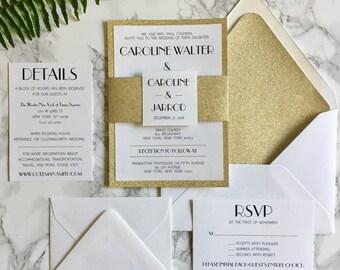 Gold Glitter Wedding Invitation with Glitter Belly Band, 20's Themed Wedding Invitation, Art Deco Wedding Invitation