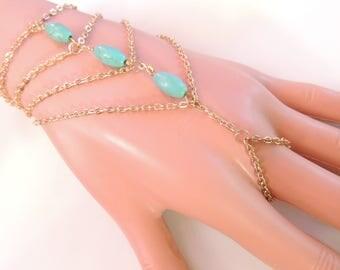 Turquoise Slave Bracelet, Chain Bracelet, Gold Slave Bracelet, Boho Bohemian Slave Bracelet, Gypsy Bracelet, Turquoise Jewelry. 1715