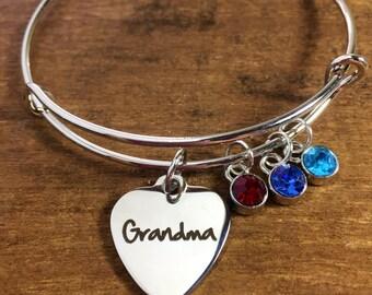 Gift for grandma, birthstone charm bracelet, grandmother bracelet, personalized gift for grandma, grandma jewelry