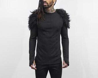 Helge faux-fur detail fitted sweater in coal, men's