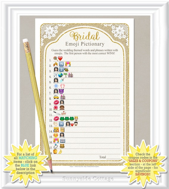 EMOJI Pictionary Bridal Game Rustic Country Burlap Lace