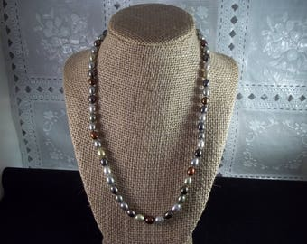 """Honora 925 Multi Color Freshwater Cultured Oval Pearl Necklace, 20"""""""
