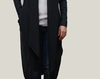 Black Summer Coat/ Long Jacket / Long Tunic / Cotton Trench / Summer Trench / Trench from Cotton and Chiffon/ Quality Vest/ F1037
