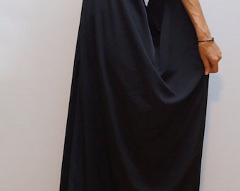 Black Kaftan/Asymmetrical Tunic/Maxi Black Dress/Black Casual Kaftan/Fashion Dress/F1298
