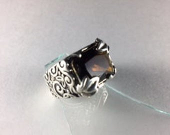 """Ornate """"Barse"""" Topaz Colored Stone and Silver Ring with Topaz Brown Colored Stone Mounted on an Intricately Carved Band //Sz 7.5"""
