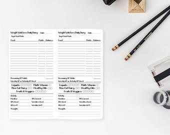 Weight Watcher Daily Diary Tracker Standard Traveler's Notebook Insert - Standard size - Midori refill - Traveller's - diet tracking
