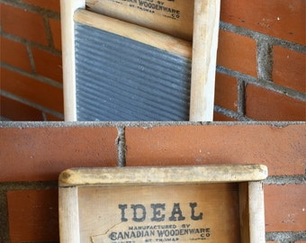 Ideal Wood & Metal Washboard -  Manufactured by the Canadian Woodenware Co. - Country Rustic Antique