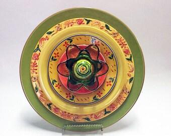 Yard Art - Garden Flower - Garden Art - Plate Flowers - Art Flowers - Glass Flowers - Dish Flowers - Outdoor Decor - Garden Decor